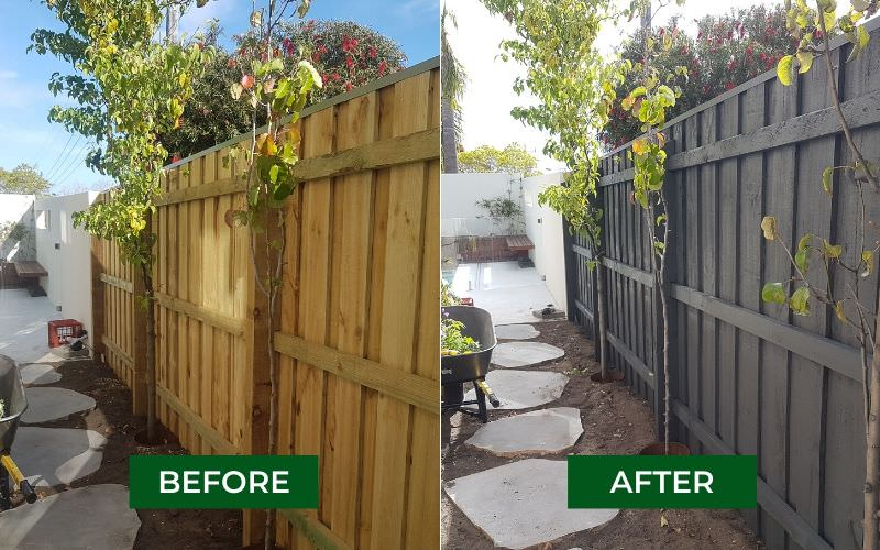 timber fence painting